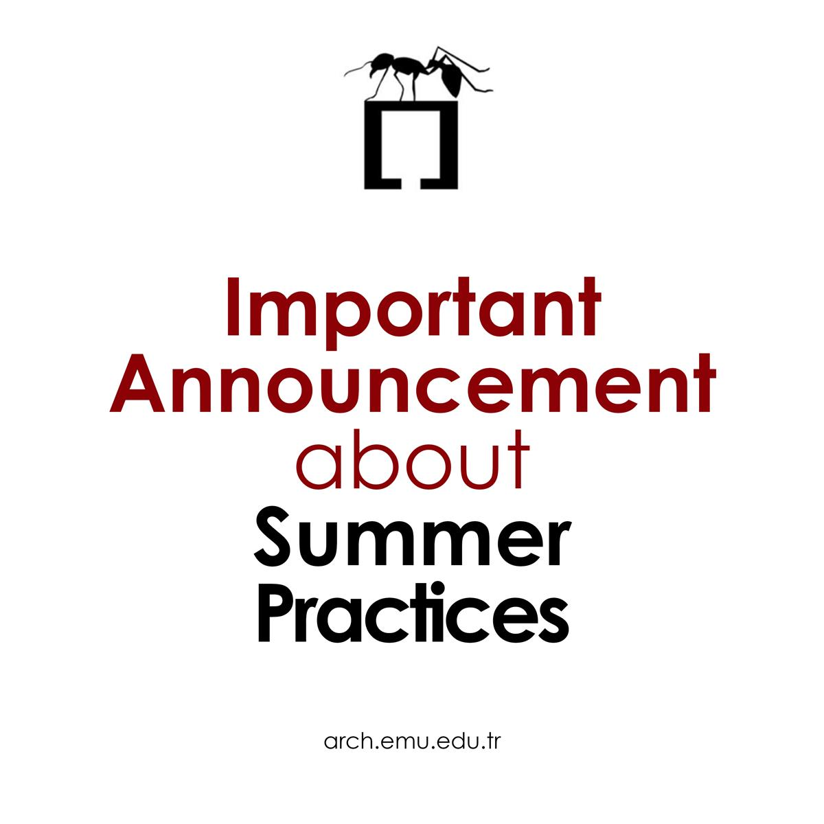 Important Announcement about Summer Practices